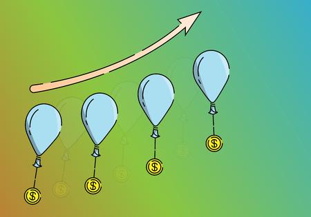 vector illustration Growth arrow pointing up to the success Ilustração