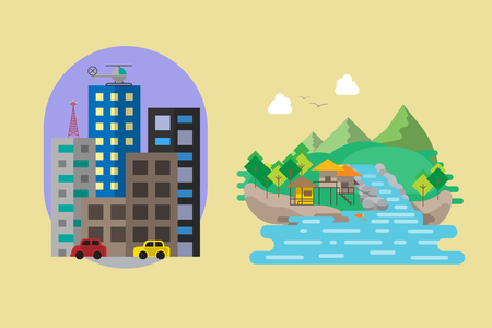 downtown and countryside flat style vector illustration Vektorové ilustrace