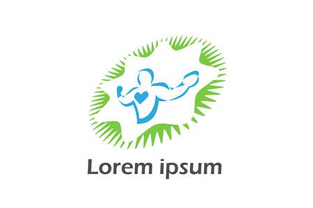 health and fitness logo isolated on white background Ilustração