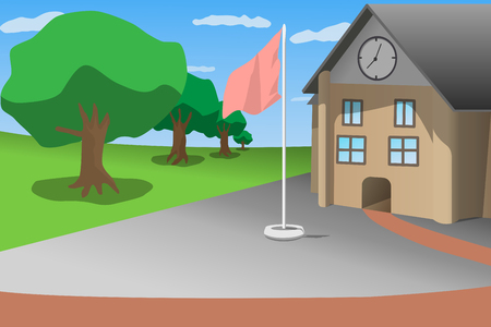 school front view blue sky green tree and flagstaff, cartoon style vector illustration Ilustrace