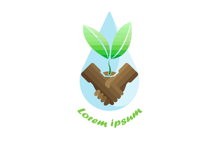shake hands with tree planting and droplet ,vector logo design