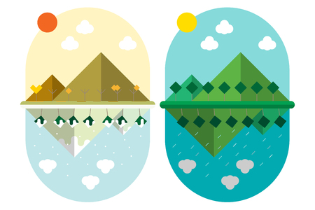 vector illustration flat style design Land Mountain and trees with 4 seasons weather in the same location