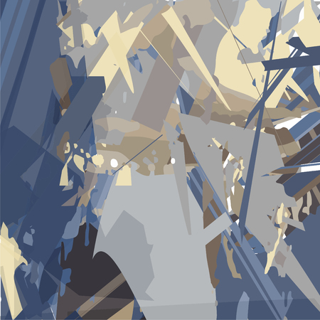 Abstraction in blue with sharp geometric elements