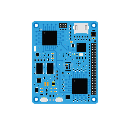 microcontroller: DIY electronic blue high end board with a microcontroller