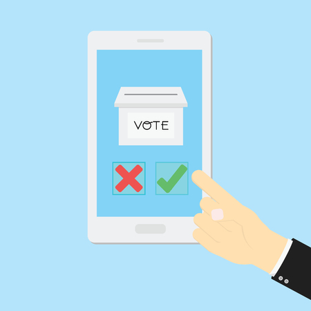 put: Voting concept by Hand put right or wrong in mobile phone
