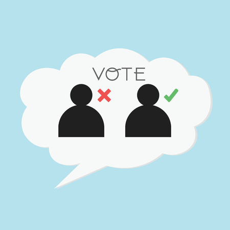 balloting: Voting concept by Think is right or wrong.