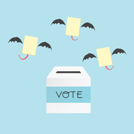 Voting concept by the ballot box and paper devil . Illustration