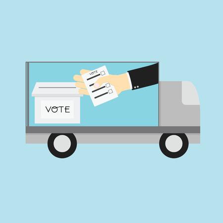 voting: Voting concept. Car Announces Voting on road