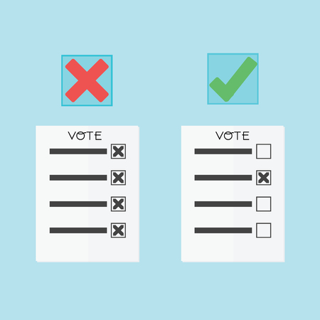 balloting: Voting concept by papers have right or wrong Illustration