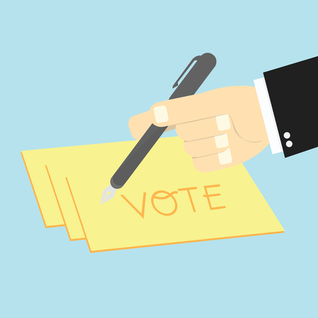writing paper: Voting concept by Hand writing paper votes Illustration