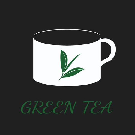 Green tea concept by use three colors and ground black.