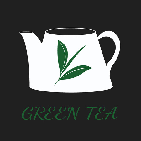 ceylon: Green tea concept by use three colors and ground black. Illustration
