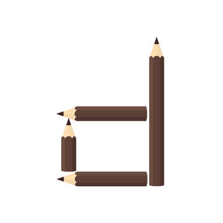 rearrange: Color wooden pencils concept by Rearrange the letters d.