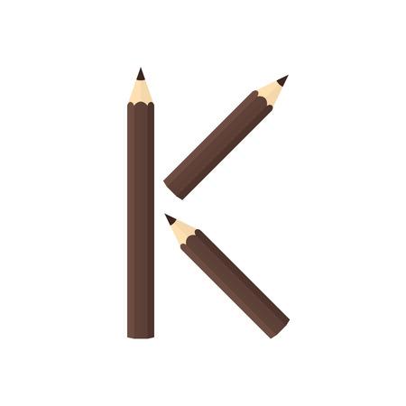 rearrange: Color wooden pencils concept by Rearrange the letters K.