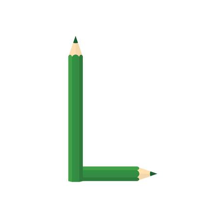 rearrange: Color wooden pencils concept by Rearrange the letters L.
