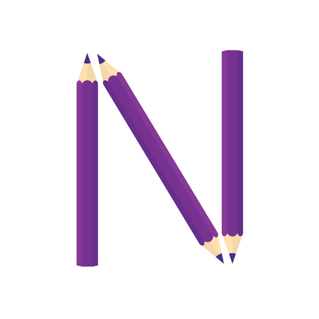 assignments: Color wooden pencils concept by Rearrange the letters N. Illustration