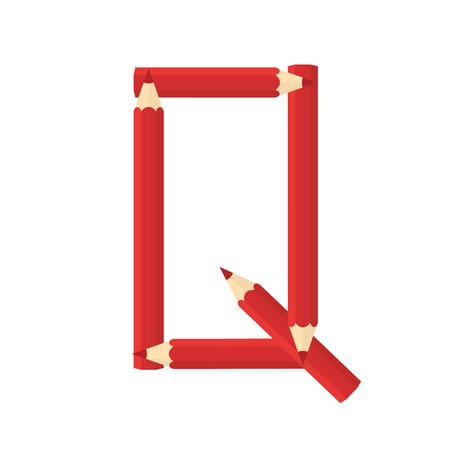 rearrange: Color wooden pencils concept by Rearrange the letters Q.