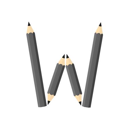 rearrange: Color wooden pencils concept by Rearrange the letters W. Illustration