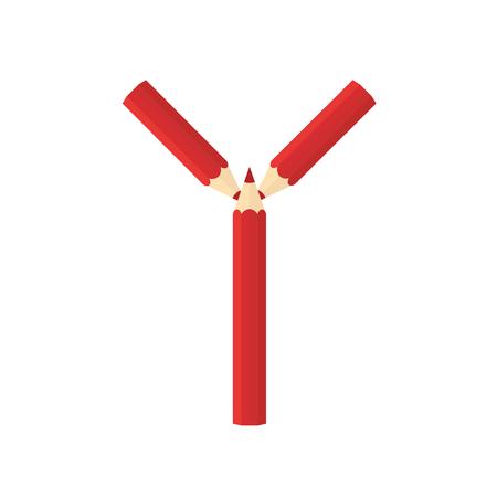 rearrange: Color wooden pencils concept by Rearrange the letters Y.