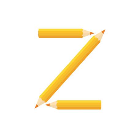 rearrange: Color wooden pencils concept by Rearrange the letters Z.