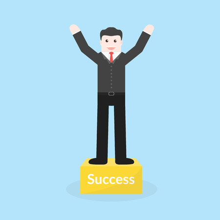 recompense: Success concept by business man stood on the podium.