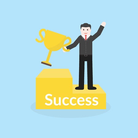 recompense: Success concept by business man holding trophy and stood on the podium.