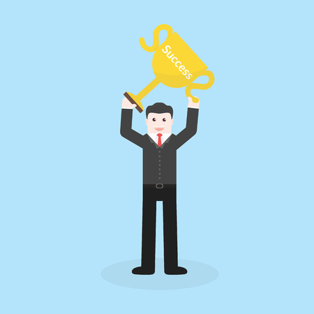 recompense: Success concept by business man holding trophy.