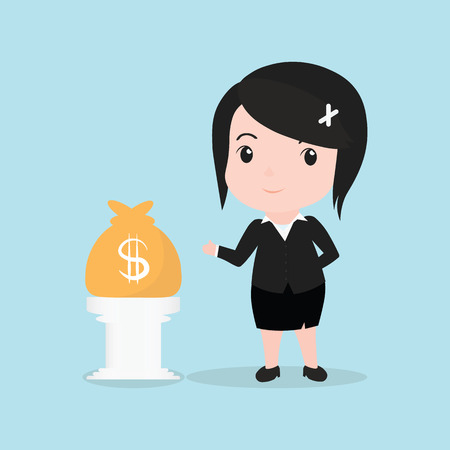 woman arms up: Business Woman concept by have money bag. Illustration
