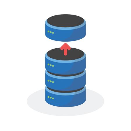 storage: Data storage icon with reduce base storage, ESP10. Illustration