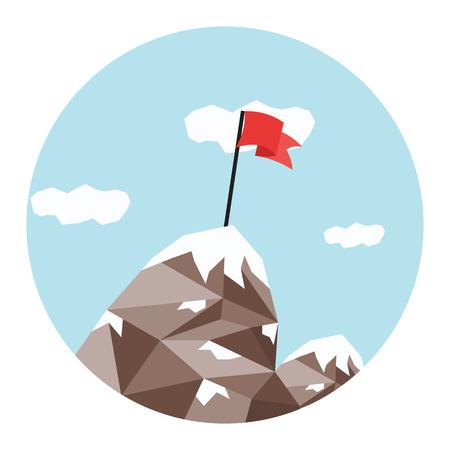 peak: Mountain peak, success and mission, winner on top.