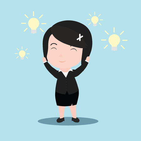 Business woman with an idea, with the light bulb.