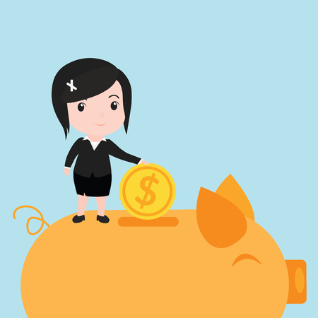 Business women putting coin into piggy bank, cartoon. Illustration