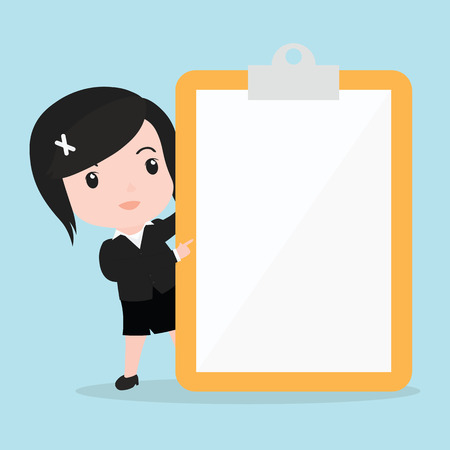 Business woman pointing to screen of a paper.