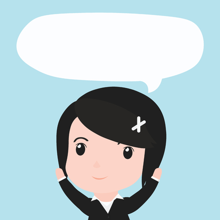 ides: Business woman with speech bubble ides, cartoon.