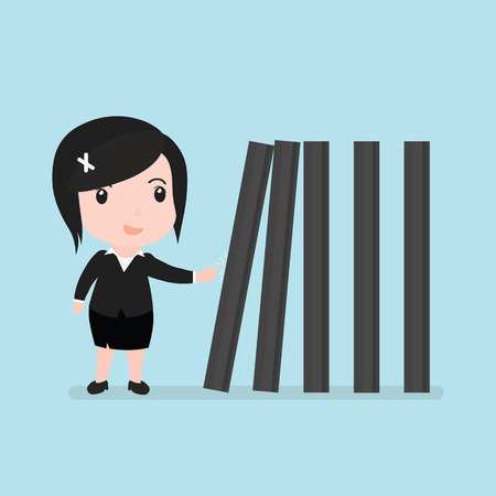 Business woman with toppling dominoes, Domino effect.