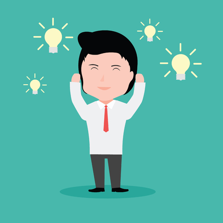 business mind: Businessman with an idea, with the light bulb.