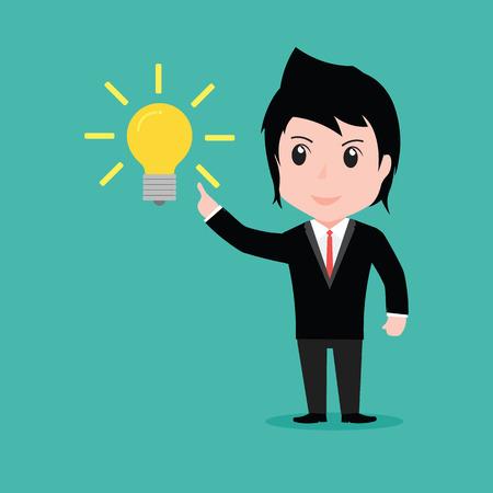 Businessman get something idea, cartoon vector EPS10.