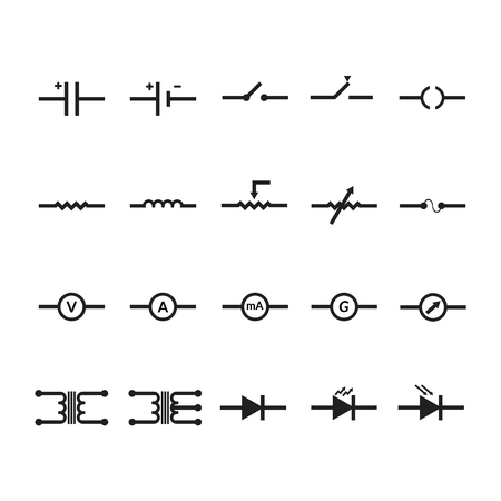 capacitor: Electronic and Electric Symbol Vector by EPS10. Illustration