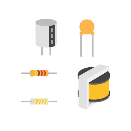 transistor: Componentes electrónicos, vector de iconos de EPS10.