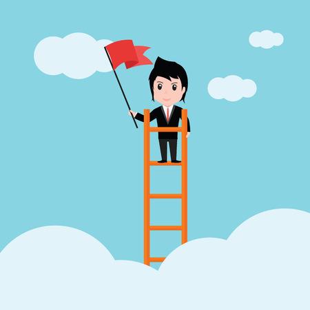 Business man, a ladder Corporate of success.