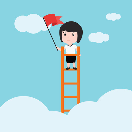 Business woman, a ladder Corporate of success. Illustration