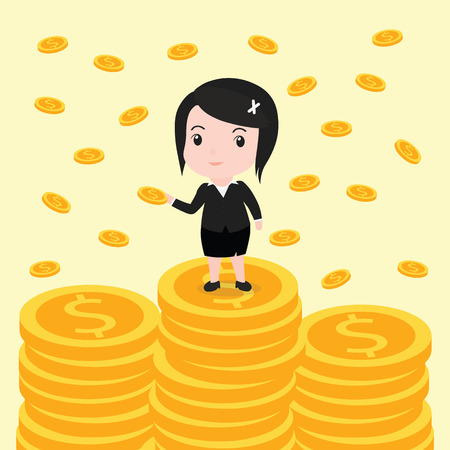 Many coins, Business woman have many coins.