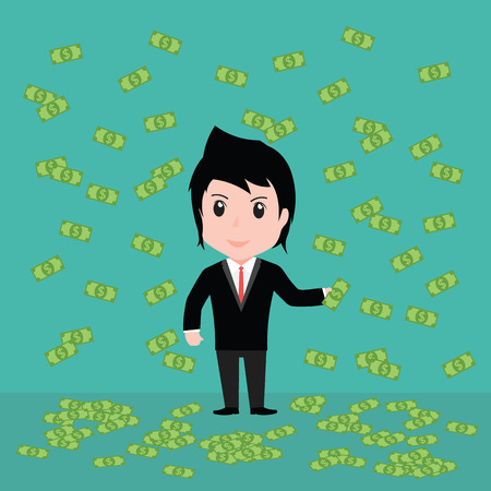unequal: Many banknotes, Business man have many banknotes. Illustration