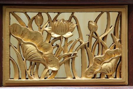 Thai style wood lotus carving photo