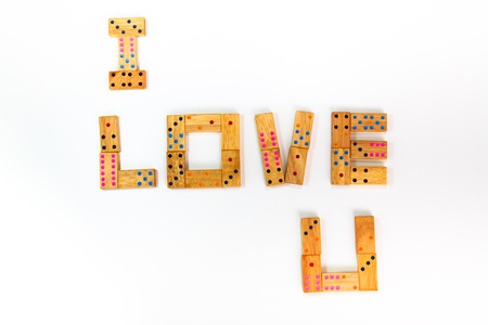 I Love You Retro wooden dominos isolated on white background photo