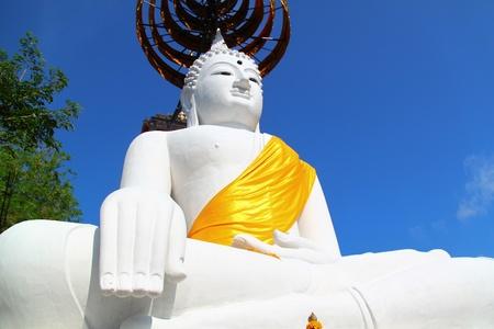 godhead: The Big White Buddha in thailand temple Stock Photo