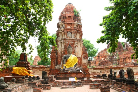 Ruins of Wat Mahathat Ayutthaya in Thailand photo