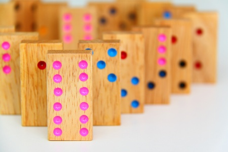 regimented: Retro wooden dominos isolated on white background