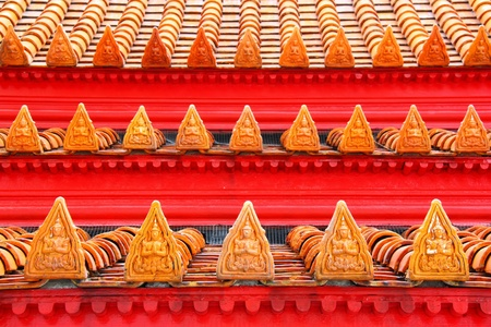 Buddhist motifs tiles roof in The Marble Temple Bangkok, Thailand photo