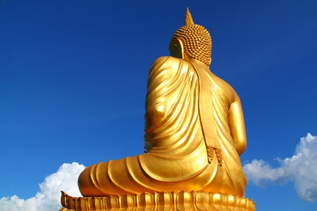 Back Of Buddha Statue In Thailand Temple photo